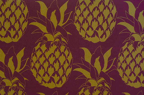 Willis Bloom Pineapple wallpaper in Garnet. A rich red and gold wallpaper for a beautiful home. Love pattern.