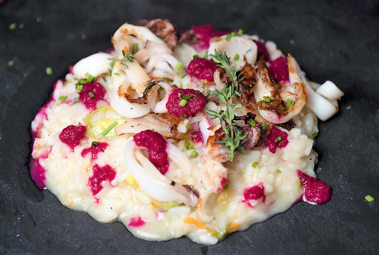Risotto ai fiori di zucca e calamari, by Chef Anthony