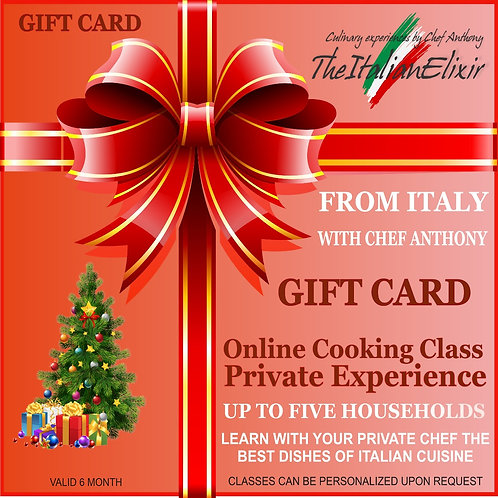 Gift Card online cooking class