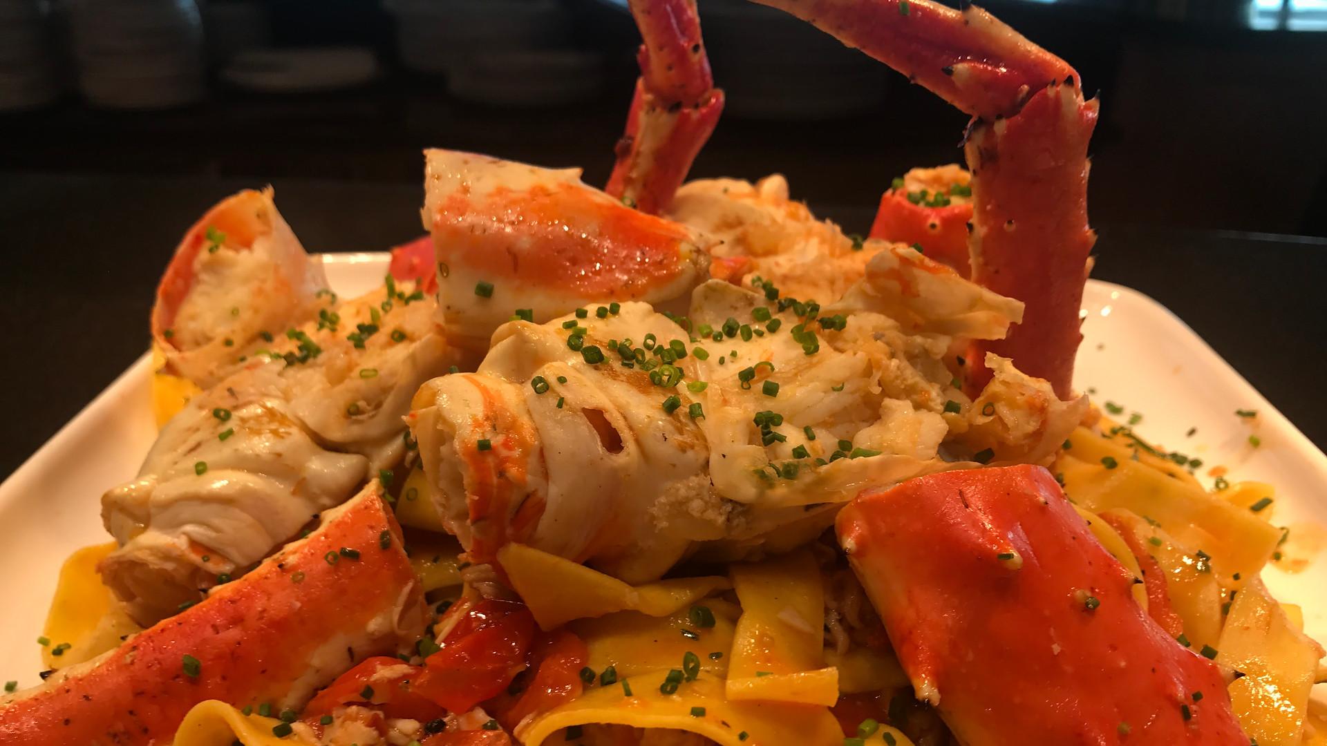 Alaskan King Crab tagliatelle.
