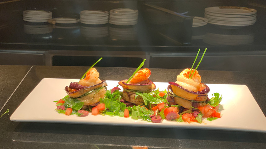 Seabass Fillet wrapped in eggplants.