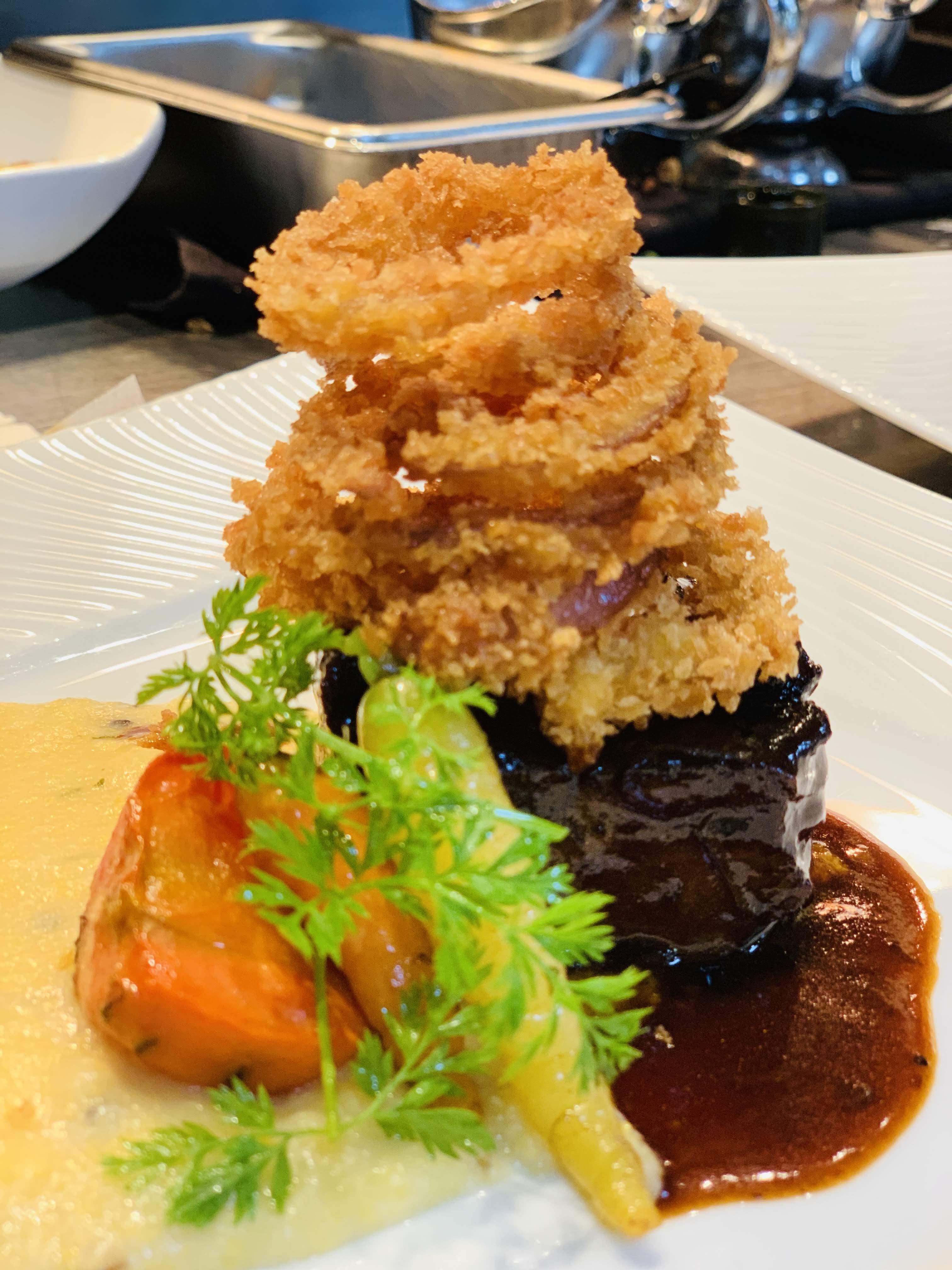 Beef Short Rib, Polenta, Onion Rings