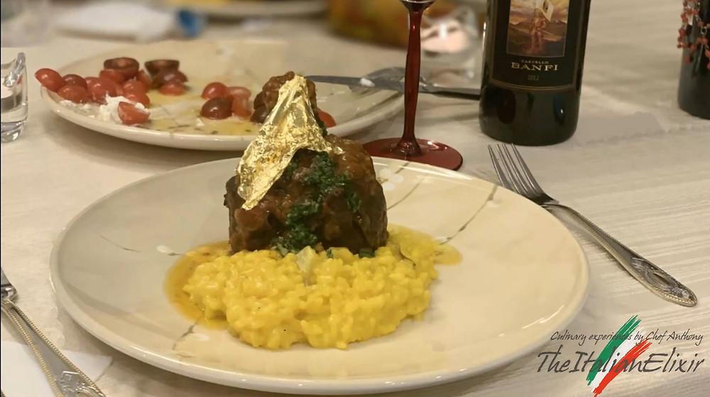 presentation of venison Osso Buco and a Banfi Chianti wine in a guest table prepared by Chef Enton Qesari