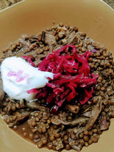 Stewed Lentils with Mushrooms and Pickled Cabbage