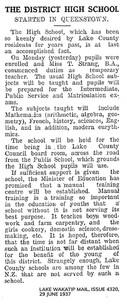 WHS in newspaper 1937