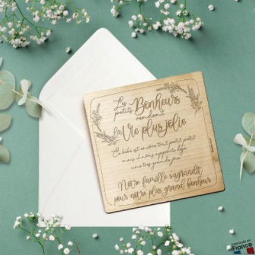Carte postale en bois: les petits bonheurs