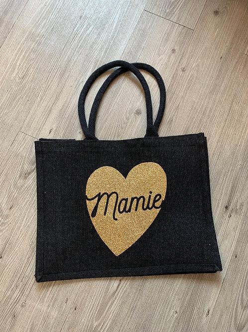 Sac caba jute grand: Mamie coeur