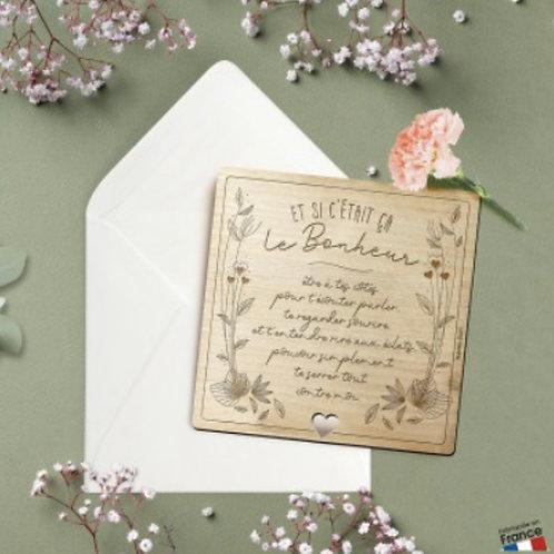 Carte postale en bois: le bonheur