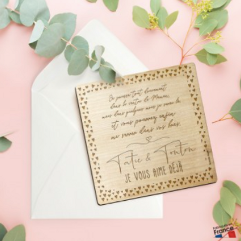 Carte postale en bois: Surprise Tatie&Tonton