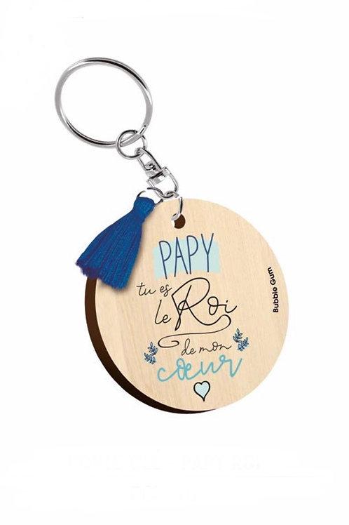 Porte clés: Papy, le roi de mon coeur