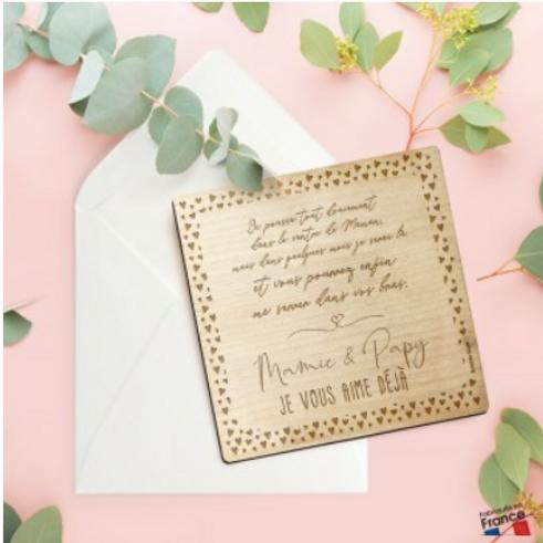 Carte postale en bois: Surprise Mamie et Papy