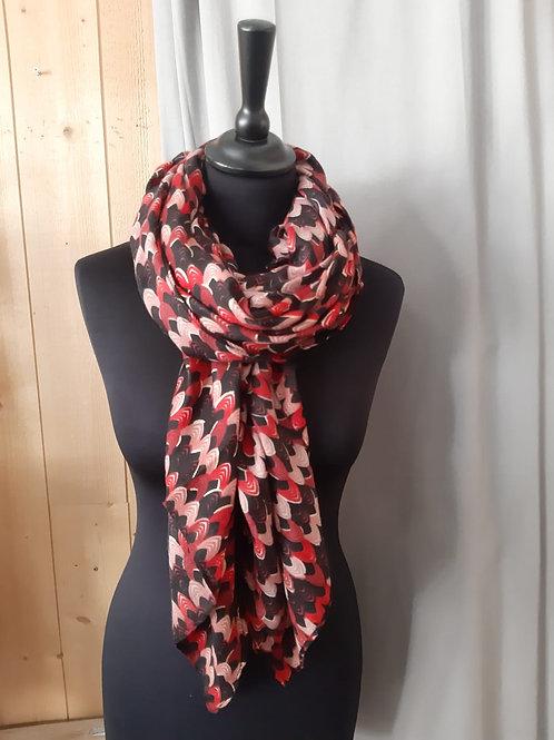 Foulard rectangle rouge et marron