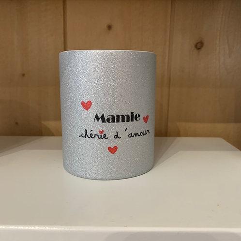 Mug paillettes: Mamie d'amour