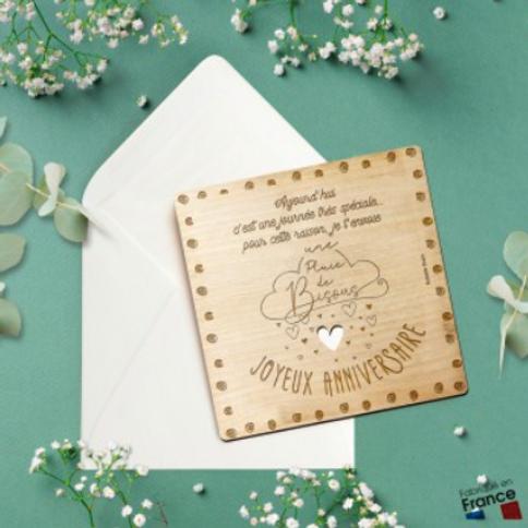 Carte postale en bois: Joyeux Anniversaire