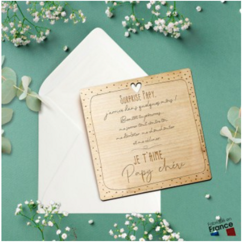 Carte postale en bois: Papy