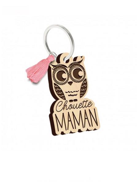 Porte clés: chouette Maman