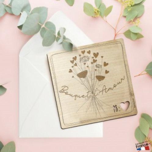 Carte postale en bois: bouquet d'amour