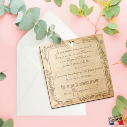Carte postale en bois: veux-tu être ma marraine?