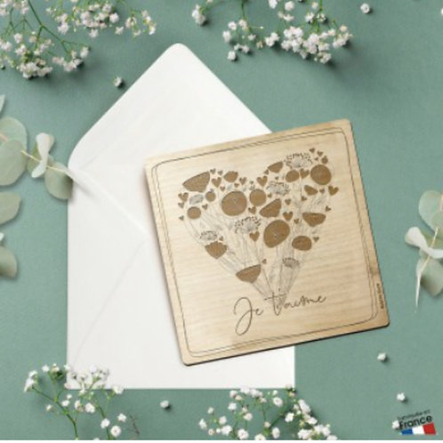 Carte postale en bois: je t'aime