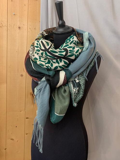Foulard patchwork ton vert