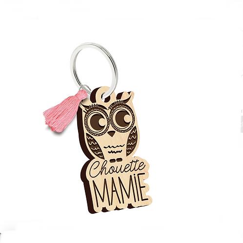 Porte clés: Chouette Mamie