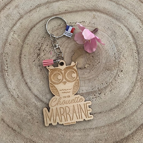 Porte clés: Chouette Marraine