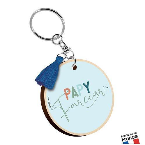 Porte clés bois : Papy.farceur