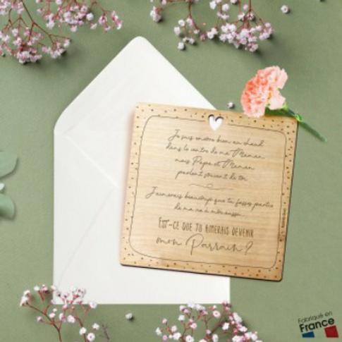 Carte postale en bois: veux-tu être mon parrain?