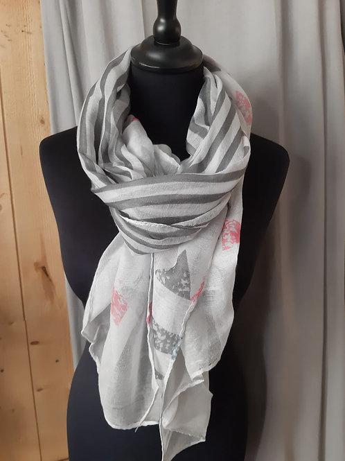 Foulard rectangle blanc et gris avec motif