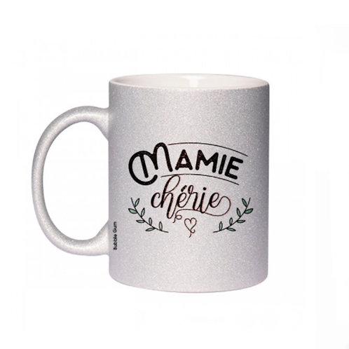 Mug paillettes: Mamie chérie