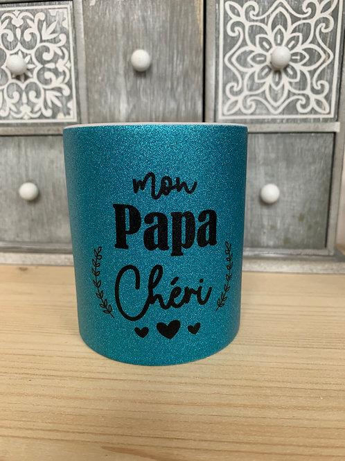 Mug paillettes: Papa chéri