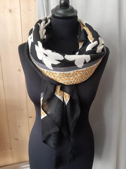 Foulard rectangle fleuri noir et blanc