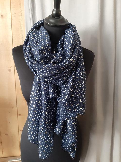 Foulard rectangle bleu avec motif