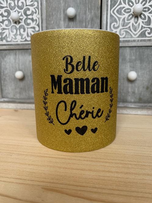 Mug paillettes: Belle maman chérie
