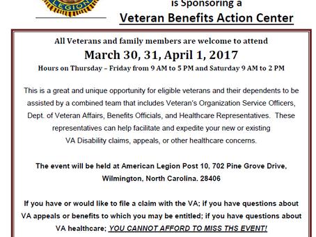 Veteran Benefits Action Center March 30 - April 1st