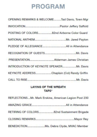 Spring Lake Memorial Day Ceremony on May 29th @ 1000