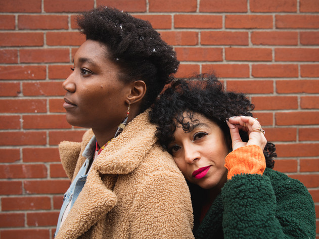 Marlyne Michel and Myriam Laabidi pose for a portrait near Jean-Talon Market in Montreal. Myriam said after seeing the picture that it adequately represented their relationship where she is more affectionate and Marlyne is more detached. She also joked that Marlyne can't live without her.