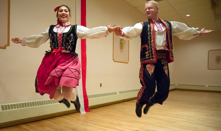 Aleksandra Boborowski and Adam Jed dance in a traditional Nowy Sącz costume during their dance practice with the Academy of the White Eagle. The dance group was formed in 2008 and has 22 members who learn traditional dances from every Polish region.