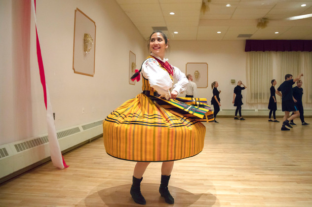 Aleksandra Boborowski dances in a traditional Opoczno dress during her dance practice with the Academy of the White Eagle in Montreal. The dance group was formed in 2008, has 22 members who learn traditional dances from every Polish region.