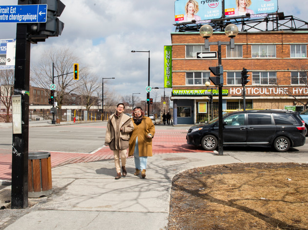 """Ilana Shecter and Rosie Bourgeoisie take a walk in their neighborhood. Both say that they like their neighborhood and feel safe walking hand in hand on the streets. Illana says that """"there are a lot of drag queens and like-minded people here around""""."""