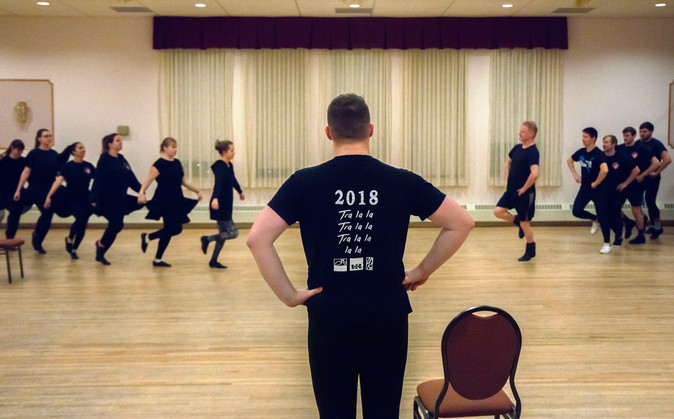 Richard Schmidt, the choreographer of the White Eagle Academy, watches his students as they learn a new dance. The Academy is a semi-professional traditional Polish dance group composed of 22 members. The group started dancing together in 2008.