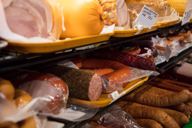 A variety of sausages, hams and other meats are displayed in in Batory Polish grocery store. Jadwiga Czerkawska, the store owner, gets her meats from a Polish supplier in Toronto. She prides herself in the diversity and quality of the meats and cold cuts that she offers in her store.