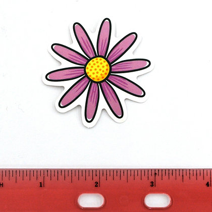 Pink Daisy Happy Vinyl Sticker