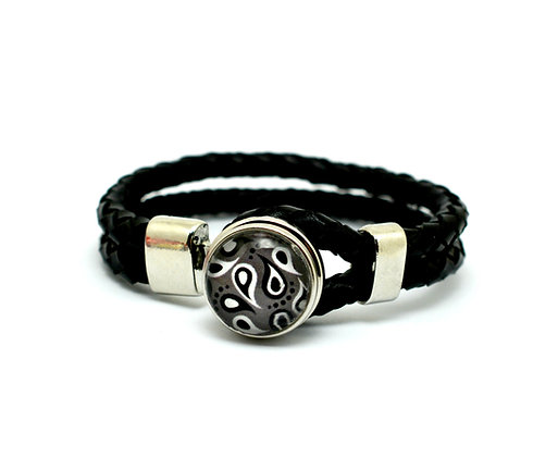 Double Braided Leather Slider Bracelet