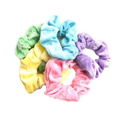 Scrunchies Velvet Pretty Pastels Set of 5