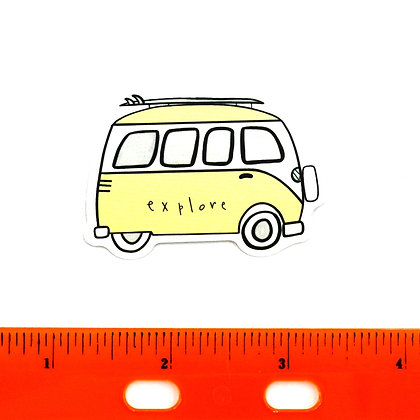 Yellow Explore VW Van Vinyl Sticker