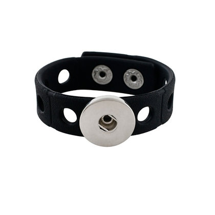 Silicone Adjustable Snap Bracelet Black