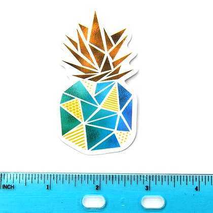 Blue Geo Pineapple Vinyl Sticker