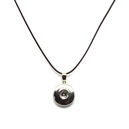 Single Snap Brown Waxed Cord Snap Necklace