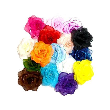 Glitter Rose Hair Clip